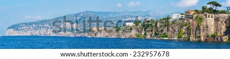 Panorama of Sorrento, Sant'agnello, Montechiaro gulf view. The province of Campania. Italy. - stock photo