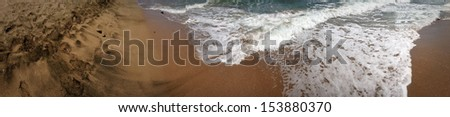 Panorama of South costs' sand  of BUlgaria's Black sea - stock photo
