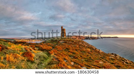 Panorama of South of the Isle of Man with Milner Tower. Port Erin on the Right and Calf of Mann on the left. Tranquil scene - stock photo