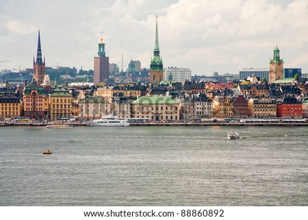 panorama of Stockholm city in autumn day, Sweden - stock photo