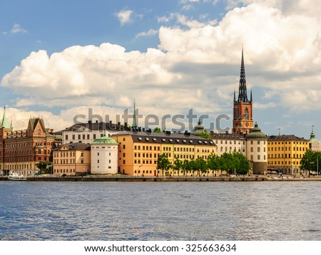 Panorama of Stockholm old city (Gamla Stan) from city hall, Sweeden - stock photo