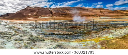 Panorama of sulfur and steam Namafjall landscape in Iceland