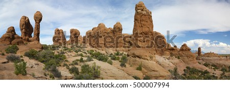 Panorama of Summit Canyon in the Kofa Mountains Wilderness in Yuma   County near Quartzite Arizona.