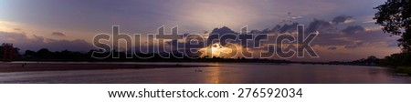 Panorama of sunset at Tak thailand. - stock photo