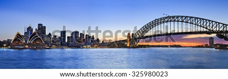 panorama of SYdney CBD cityline from Kirribilli across Harbour looking out at skyscrapers, towers, Harbour Bridge