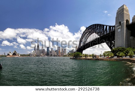 Panorama of Sydney Cove and the Harbour of Sydney, Australia, and view on the Skyline of Sydney. Seen from Kirribilli, a northern suburb of Sydney.