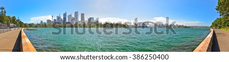 Panorama of Sydney Harbor in a sunny day - stock photo