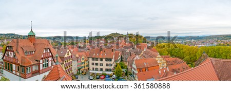 Panorama of Tübingen University city in south germany - stock photo