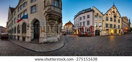 Panorama of Tallinn Old Town in the Morning, Tallinn, Estonia - stock photo