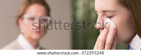 Panorama of teenage girl with complexes during therapy
