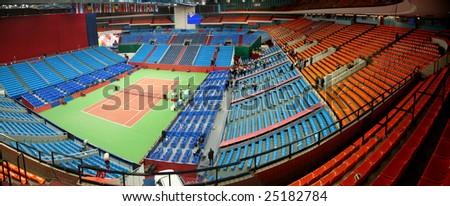 Panorama of tennis stadium - stock photo