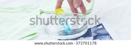 Panorama of test tube and in vitro assay - stock photo