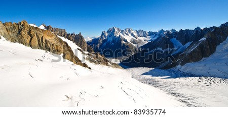 Panorama of the amazing french alps - stock photo