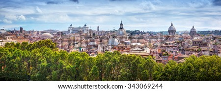 Panorama of the ancient city of Rome, Italy. As seen from Castel Sant'Angelo. - stock photo