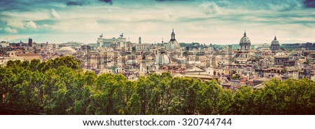 Panorama of the ancient city of Rome, Italy. As seen from Castel Sant'Angelo. Vintage - stock photo