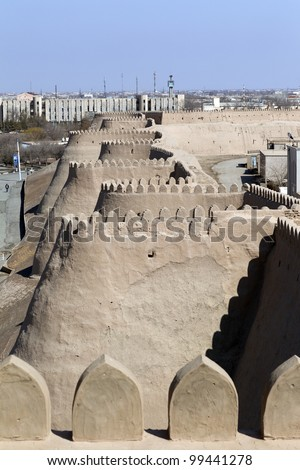Panorama of the ancient Khiva, Uzbekistan