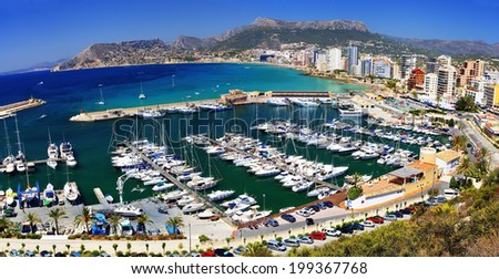 Panorama of the bay with yachts on the background of the city and hills (Spain, Calpe View)