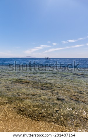 Panorama of the beach at reef, Sharm el Sheikh, Egypt.