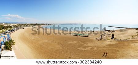 Panorama of the beach, Costa Dorada, Spain - stock photo