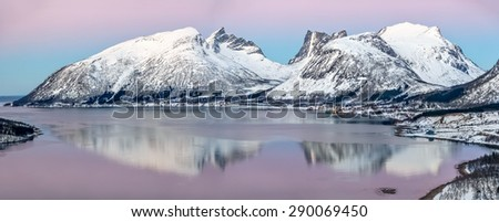 Panorama of the beautiful fjord on Senja island at sunset, Troms county - Norway
