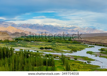 Panorama of the beautiful mountains that surround Leh in the valley of the Indus river - Tibet, Leh district, Ladakh, Himalayas, Jammu and Kashmir, Northern India - stock photo