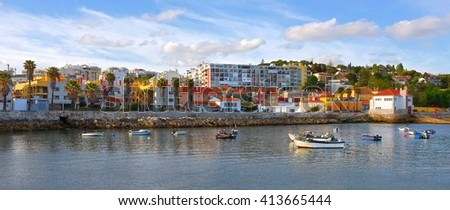 Panorama of the beautiful Paco dArcos village - Portugal - stock photo