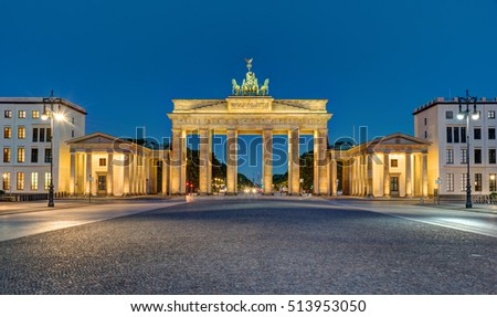 Panorama of the Brandenburg Gate in Berlin at night, Germany