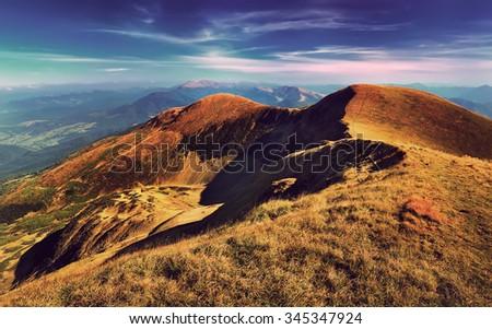Panorama of the Carpathian Mountains park. Retro style. - stock photo