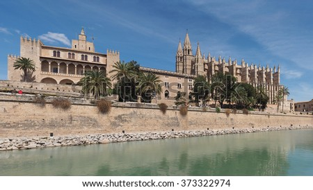 Panorama of the Cathedral in Palma de Mallorca, Spain - stock photo