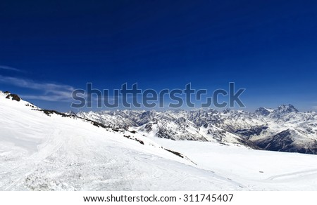 panorama of the Caucasus mountain range, view from Mount Elbrus