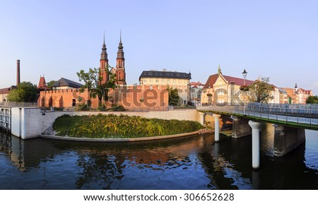 Panorama of the central part Opole city at sunset - stock photo