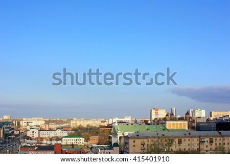 panorama of the city - stock photo