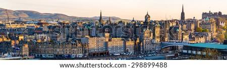 Panorama of the city centre of Edinburgh - Scotland - stock photo