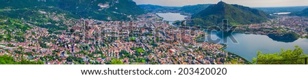 Panorama of the city Lecco. Lecco, Alps, Italy, Europe. - stock photo