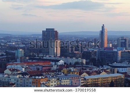 Panorama of the city of Brno, Czech Republic