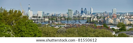 Panorama of the City of London viewed from Greenwich - stock photo