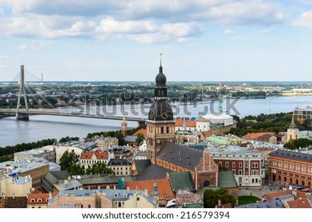 Panorama of the city of Riga, Latvia. View from the Saint Peter's church in Riga, Latvia - stock photo