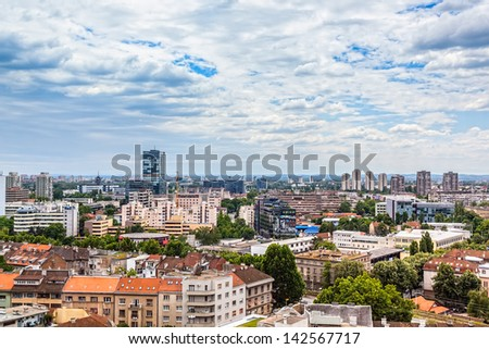 Panorama of the city, view to the south, Zagreb capitol of Croatia.