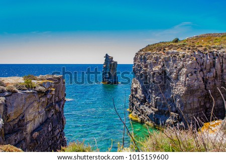 Iglesia stock images royalty free images vectors shutterstock panorama of the cliff and coves of the southern part of the island of san pietro sciox Gallery