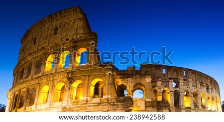 Panorama of the Coliseum during twilight, Rome, Italy - stock photo