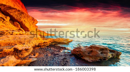 Panorama of the colorful summer sunrise