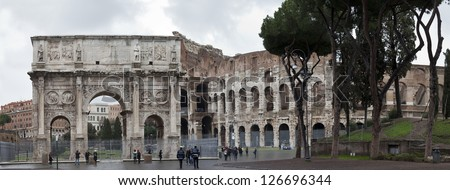 Panorama of the Colosseum and Arch of Constantine, Rome, Italy - stock photo