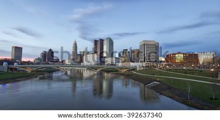 Panorama of the Columbus, Ohio skyline along the Scioto River - stock photo