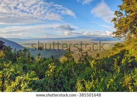 Panorama of the Crater Ngorongoro National Park - Tanzania, East Africa - stock photo