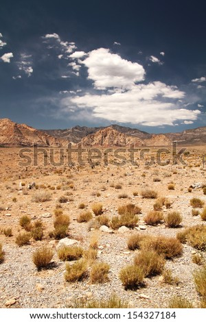 Panorama of the desert at red rock canyon in Nevada, united states - stock photo