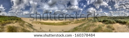 Panorama of the Dutch coast and North Sea near The Hague, Holland - stock photo