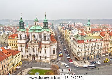 Panorama of the European City, Prague, Czech Republic - stock photo