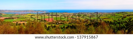 Panorama of the Exe estuary and surrounding countryside viewed from Haldon Hill in South Devon England