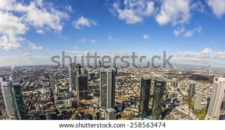 panorama of the financial district in Frankfurt, Germany - stock photo