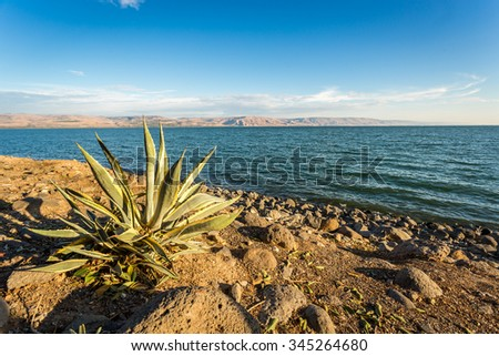 Panorama of The Galilee Sea from Capernaum, Israel - stock photo